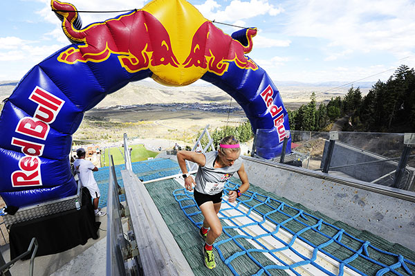 Liz Stephen takes a big lead into the final 100 meters of Red Bull 400 hill climb at the Utah Olympic Park ski jumps. (Tom Kelly/USSA)