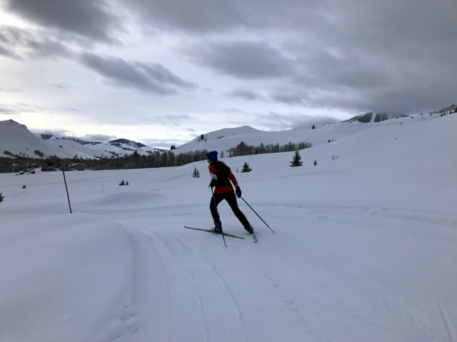 Last day ski with Natalie above Ketchum. [Photo] Erika Flowers