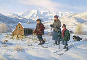 SKIING WARRIORS W NORWEIGAN BABY PRINCE HAAKON PAINTING ART REAL CANVAS PRINT