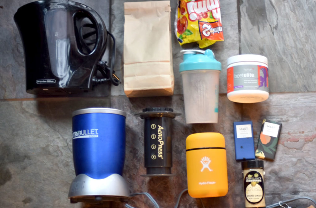 Nutribullet, coffee, AeroPress, chocolate, gummies, electric tea kettle, beer powder, protein mixer bottle, and ginger. [Photo] Erika Flowers